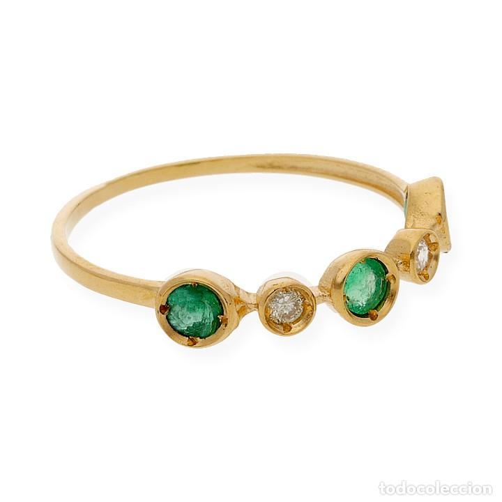 Joyeria: Anillo Diamantes y Esmeraldas en Oro de Ley 18k - Foto 4 - 215524202