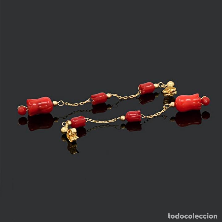 Joyeria: Pendientes largos de oro amarillo 18k y coral - Foto 3 - 119861823