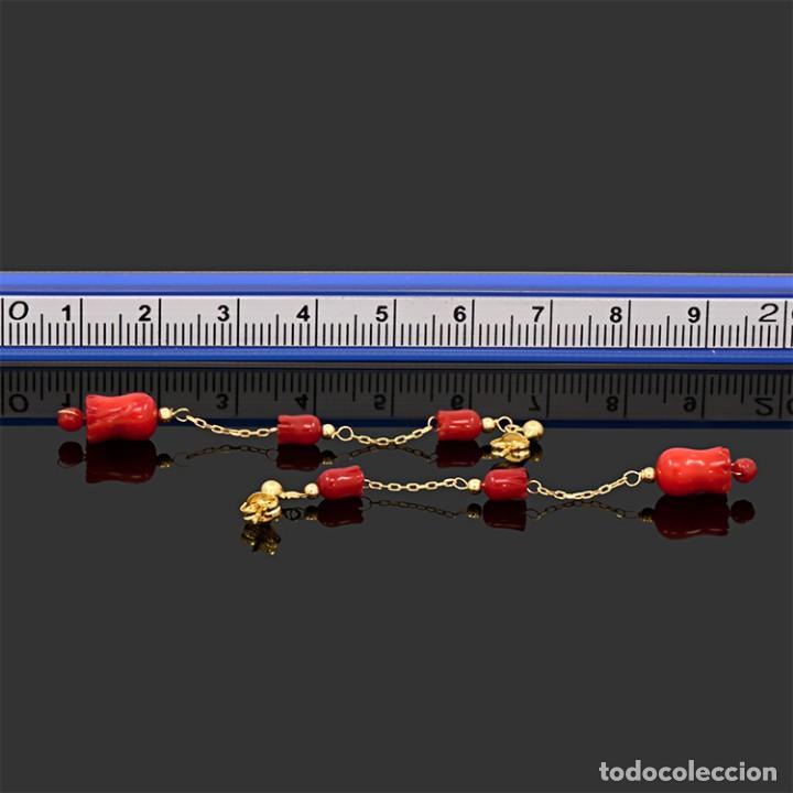 Joyeria: Pendientes largos de oro amarillo 18k y coral - Foto 4 - 119861823