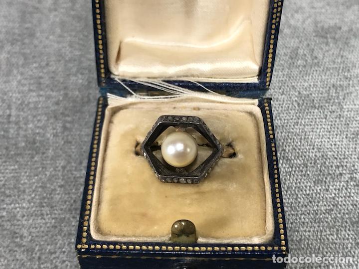 Joyeria: Anillo en Oro, Oro blanco 18k, diamantes y perla - Foto 3 - 120229354