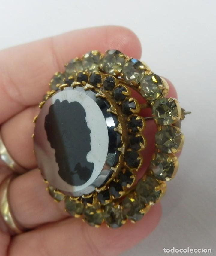 Joyeria: Broche antiguo en Cristal de roca con camafeo de dama en espejo mediados s XX - Foto 2 - 121241847