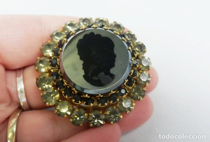 Joyeria: Broche antiguo en Cristal de roca con camafeo de dama en espejo mediados s XX - Foto 4 - 121241847
