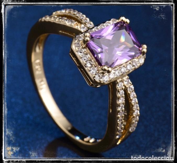 Joyeria: Precioso anillo de oro de 18kt laminado con amatista engastada en talla princesa - Foto 2 - 142826598