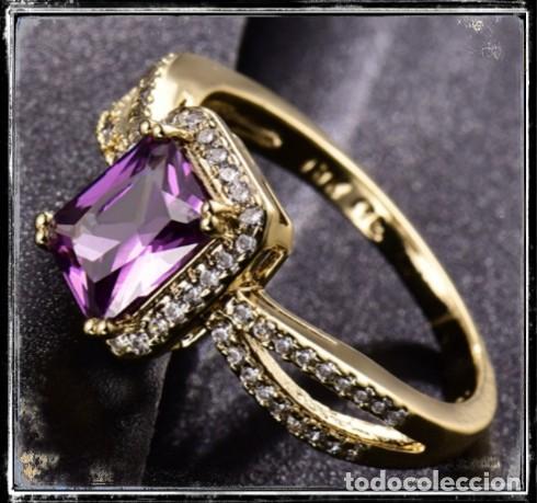 Joyeria: Precioso anillo de oro de 18kt laminado con amatista engastada en talla princesa - Foto 3 - 142826598