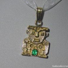 Joyeria: PRECIOSO COLGANTE ESTILO AZTECA ORO 18K CON UNA ESMERALDA 0,4CT. Lote 121482863
