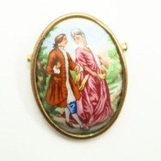 Joyeria: ANTIGUO BROCHE DE PORCELANA FRANCES LIMOGES . Lote 121920691