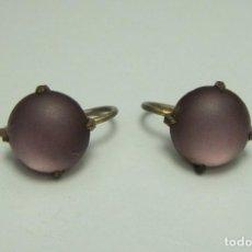 Joyeria - Pareja de pendientes antiguos. Piedra lila. - 124550812