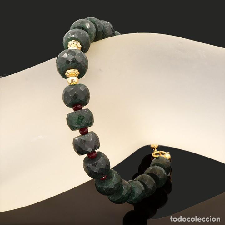 Joyeria: Pulsera de oro amarillo 18k zafiros verdes y rubíes - Ajustable a todas las medidas - Foto 9 - 121974783