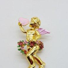 Joyeria: BELLO BROCHE DE QUERUBIN O ANGELOTE TIPO VINTAGE, CON ACABADO EN ORO Y DETALLES ESMALTADOS .. Lote 123018891