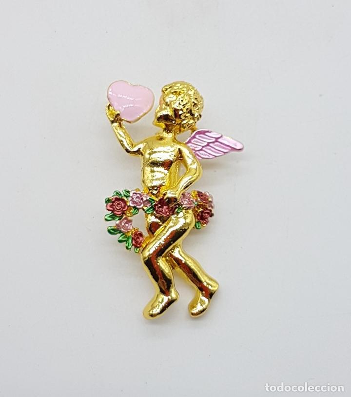 Joyeria: Bello broche de querubin o angelote tipo vintage, con acabado en oro y detalles esmaltados . - Foto 3 - 123018891