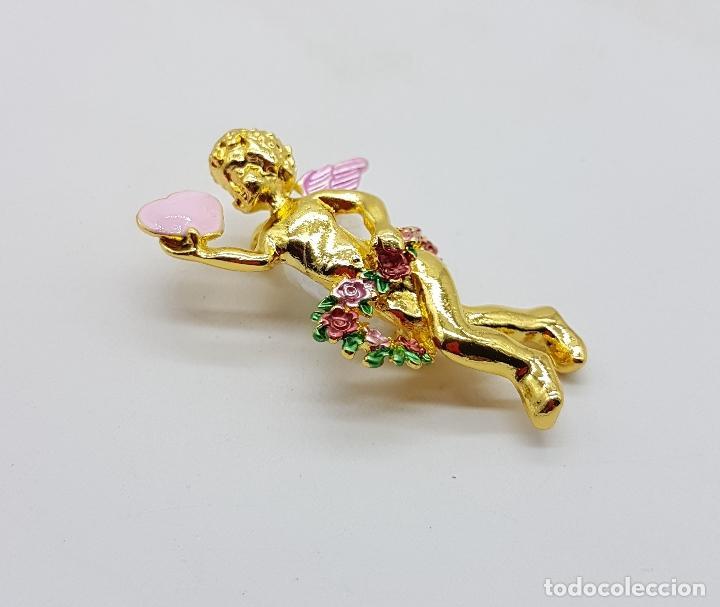 Joyeria: Bello broche de querubin o angelote tipo vintage, con acabado en oro y detalles esmaltados . - Foto 4 - 123018891
