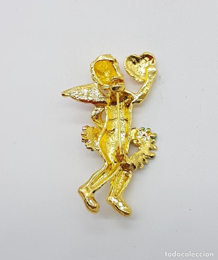 Joyeria: Bello broche de querubin o angelote tipo vintage, con acabado en oro y detalles esmaltados . - Foto 5 - 123018891