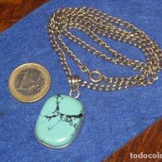 Joyeria: CADENA Y COLGANTE DE PLATA 925 CON PIEDRA TURQUESA.. Lote 123034055