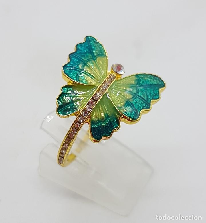Joyeria: Original anillo de mariposa con baño de oro 14k, esmaltes al fuego tonos turquesa y circonitas . - Foto 2 - 146083877