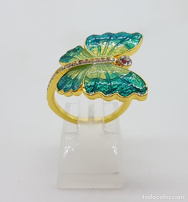 Joyeria: Original anillo de mariposa con baño de oro 14k, esmaltes al fuego tonos turquesa y circonitas . - Foto 3 - 146083877