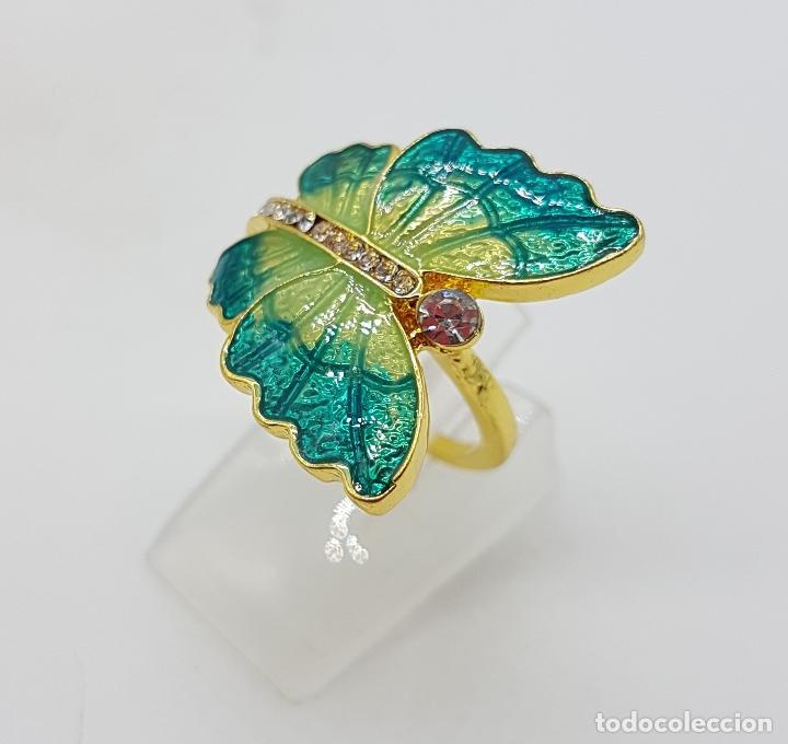 Joyeria: Original anillo de mariposa con baño de oro 14k, esmaltes al fuego tonos turquesa y circonitas . - Foto 4 - 146083877