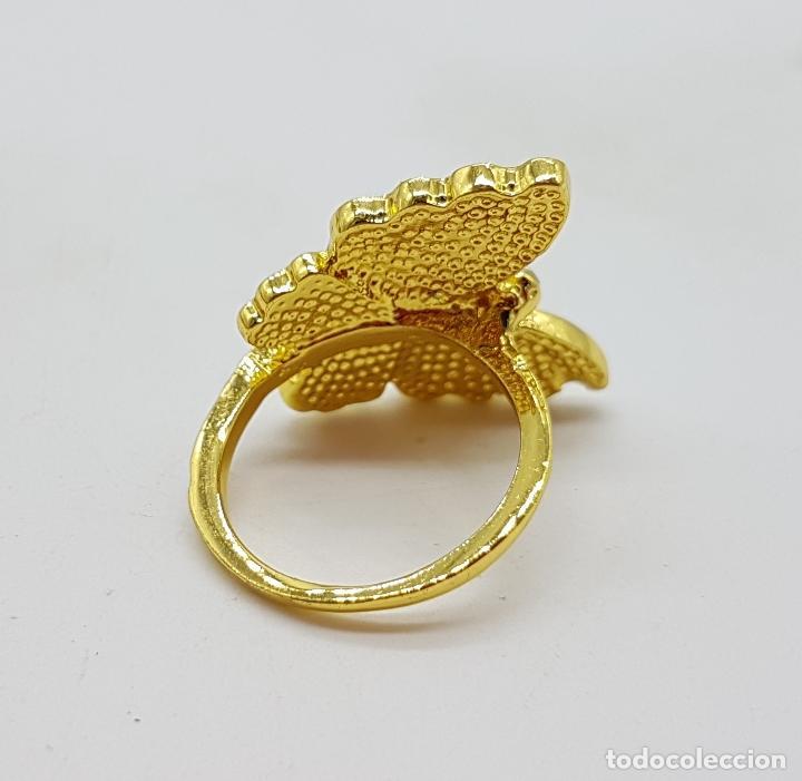 Joyeria: Original anillo de mariposa con baño de oro 14k, esmaltes al fuego tonos turquesa y circonitas . - Foto 5 - 146083877