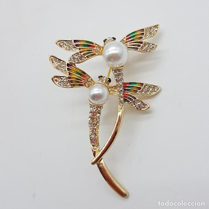 Joyeria: Broche de pareja de libelulas tipo modernista con acabado en oro, circonitas, esmaltes y perlas . - Foto 3 - 159961949
