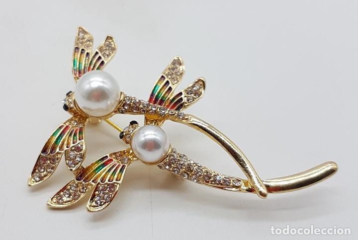 Joyeria: Broche de pareja de libelulas tipo modernista con acabado en oro, circonitas, esmaltes y perlas . - Foto 4 - 159961949