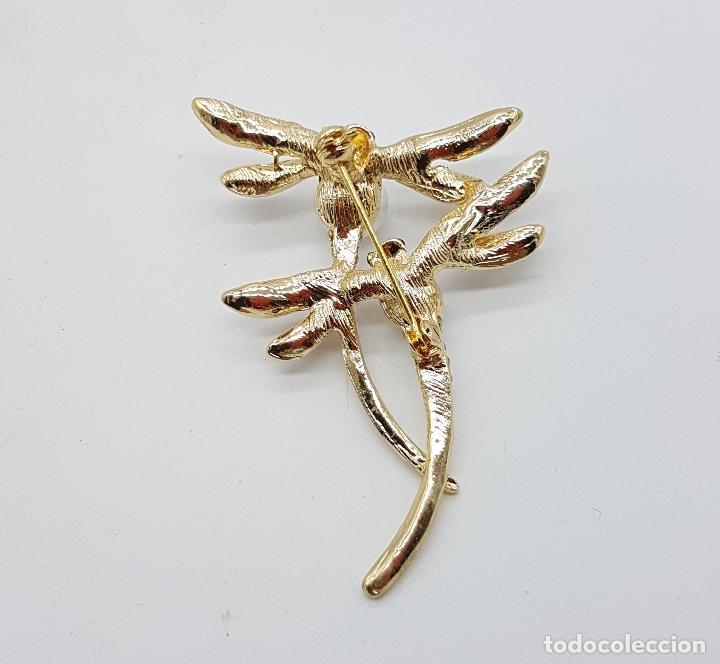 Joyeria: Broche de pareja de libelulas tipo modernista con acabado en oro, circonitas, esmaltes y perlas . - Foto 5 - 159961949