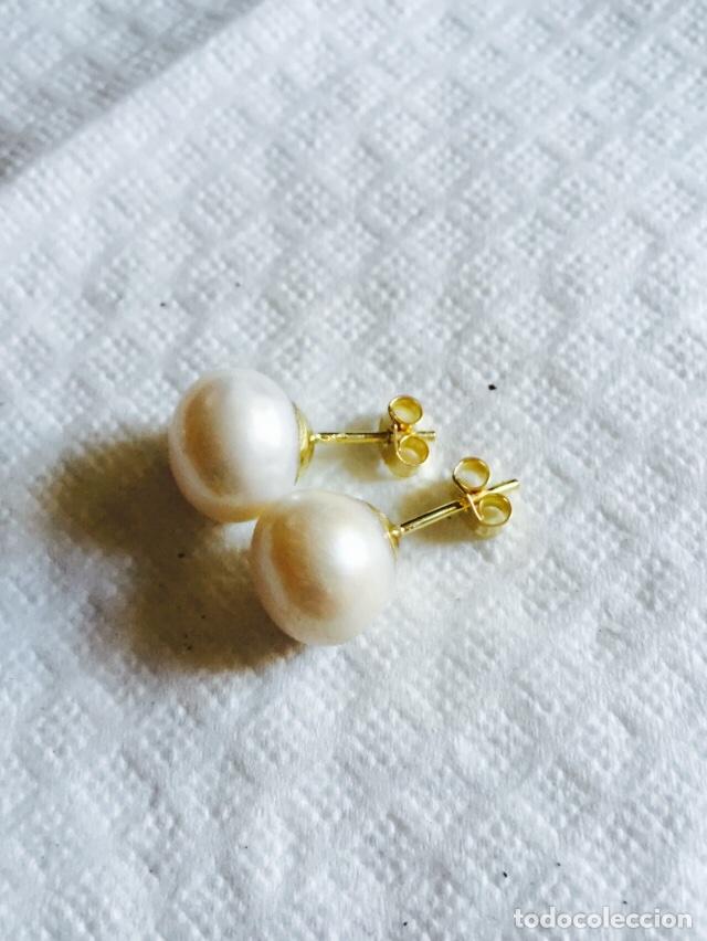 Joyeria: Pendientes de perla natural cultivada y oro de 18 klts - Foto 3 - 241957430