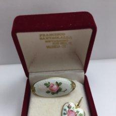 Joyeria - Broche y colgante de plata con esmalte Vintage - 123435126