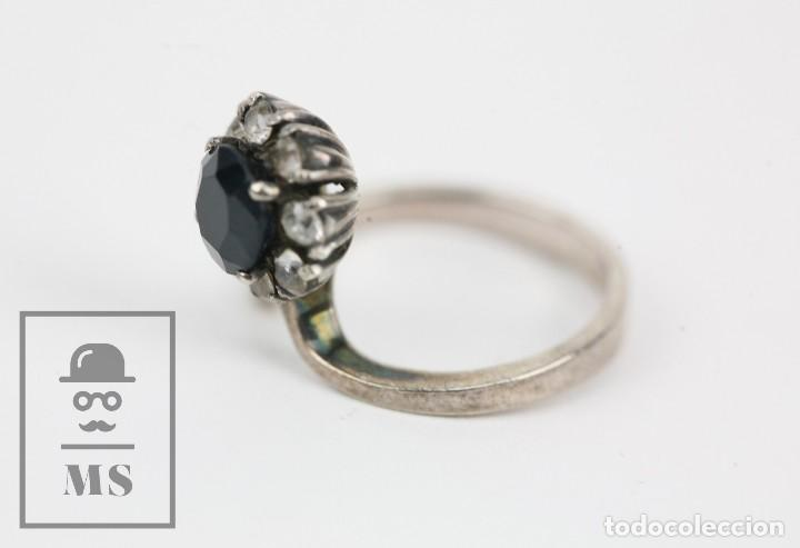 Joyeria: Anillo de Plata con Piedras Engarzadas - Ónix ? - Diámetro 16 mm - Foto 4 - 123597959