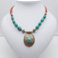 Joyeria - Gargantilla antigua en plata de ley cincelada, coral y turquesas naturales, con punzones . - 124229875