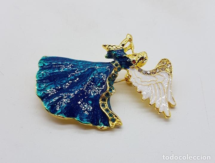 Joyeria: Broche vintage de ángel de la guarda con acabado en oro, esmaltes al fuego y pedrería . - Foto 5 - 254576190