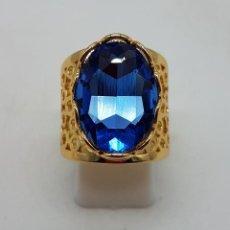 Joyeria - Gran anillo calado chapado en oro de 14k con topacio azul profundo creado talla oval facetado . - 124297795