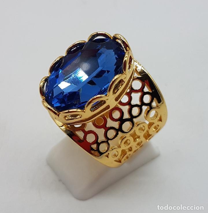 Joyeria: Gran anillo calado chapado en oro de 14k con topacio azul profundo creado talla oval facetado . - Foto 6 - 171471932