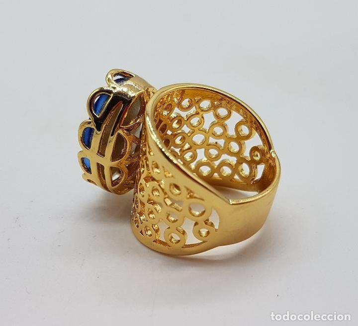Joyeria: Gran anillo calado chapado en oro de 14k con topacio azul profundo creado talla oval facetado . - Foto 4 - 171471932