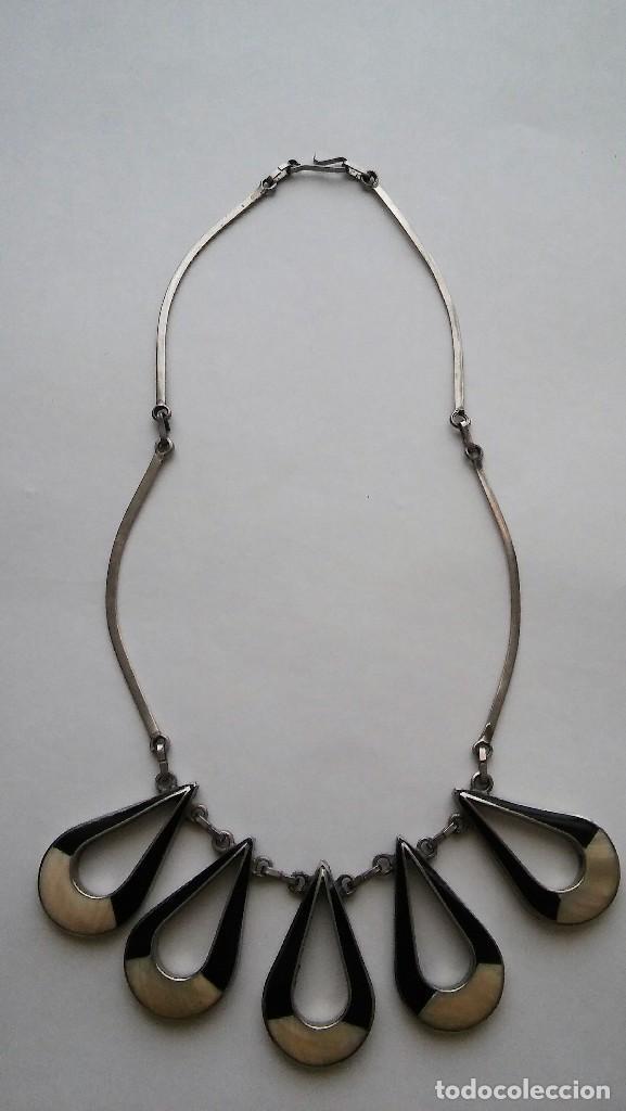 Joyeria: Antiguo raro collar diseño reversible con incrustaciones nácar, época retro original. Med. s XX - Foto 5 - 125117951