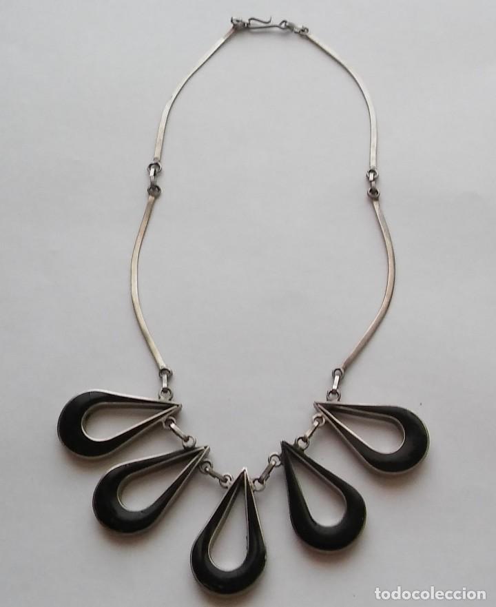 Joyeria: Antiguo raro collar diseño reversible con incrustaciones nácar, época retro original. Med. s XX - Foto 8 - 125117951
