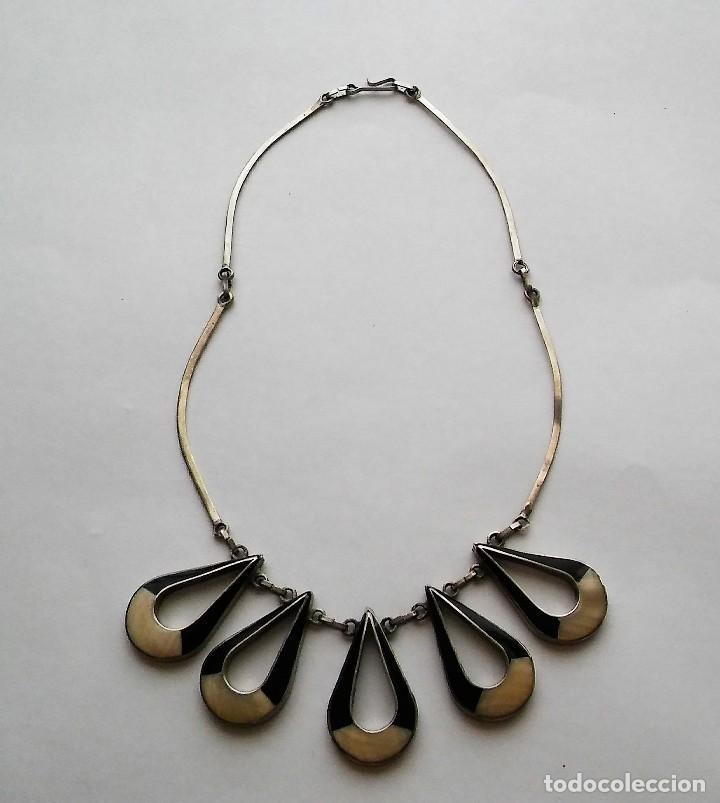 Joyeria: Antiguo raro collar diseño reversible con incrustaciones nácar, época retro original. Med. s XX - Foto 11 - 125117951