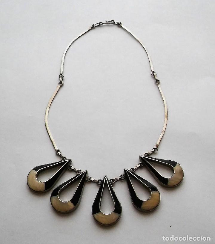 Joyeria: Antiguo raro collar diseño reversible con incrustaciones nácar, época retro original. Med. s XX - Foto 12 - 125117951