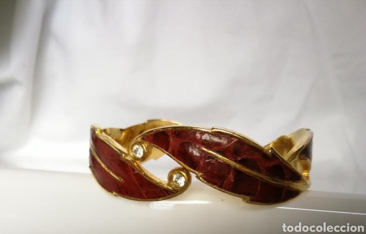 Joyeria: Brazalete o pulsera color oro y piel marrón años 80 serpiente - Foto 3 - 126070119