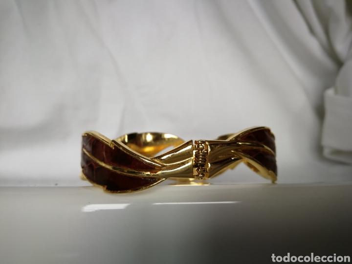 Joyeria: Brazalete o pulsera color oro y piel marrón años 80 serpiente - Foto 5 - 126070119