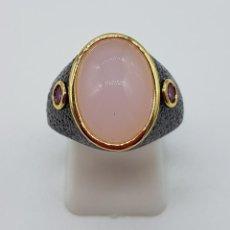 Jewelry - Magnífico anillo estilo gótico laminado en oro de 18k, platinado negro, topacios y cabujón cuarzo . - 147429925