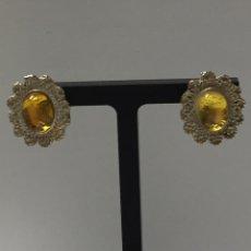 Joyeria - Pendiente presión plata con piedra amarilla - 126385238
