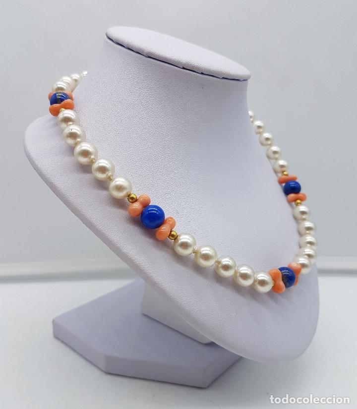 Joyeria: Gargantilla antigua de perlas con cuentas de coral piel de ángel y lapistázuli, cierre de plata . - Foto 3 - 126950831