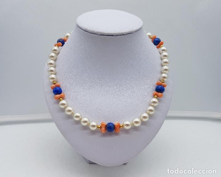Joyeria: Gargantilla antigua de perlas con cuentas de coral piel de ángel y lapistázuli, cierre de plata . - Foto 4 - 126950831
