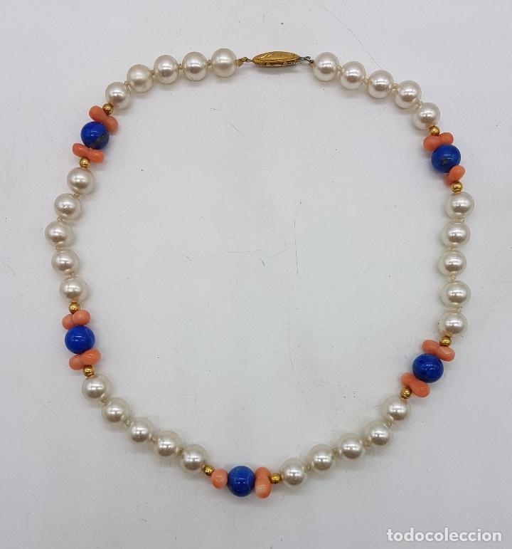 Joyeria: Gargantilla antigua de perlas con cuentas de coral piel de ángel y lapistázuli, cierre de plata . - Foto 5 - 126950831