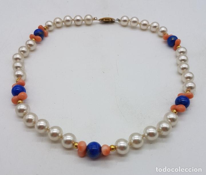 Joyeria: Gargantilla antigua de perlas con cuentas de coral piel de ángel y lapistázuli, cierre de plata . - Foto 6 - 126950831