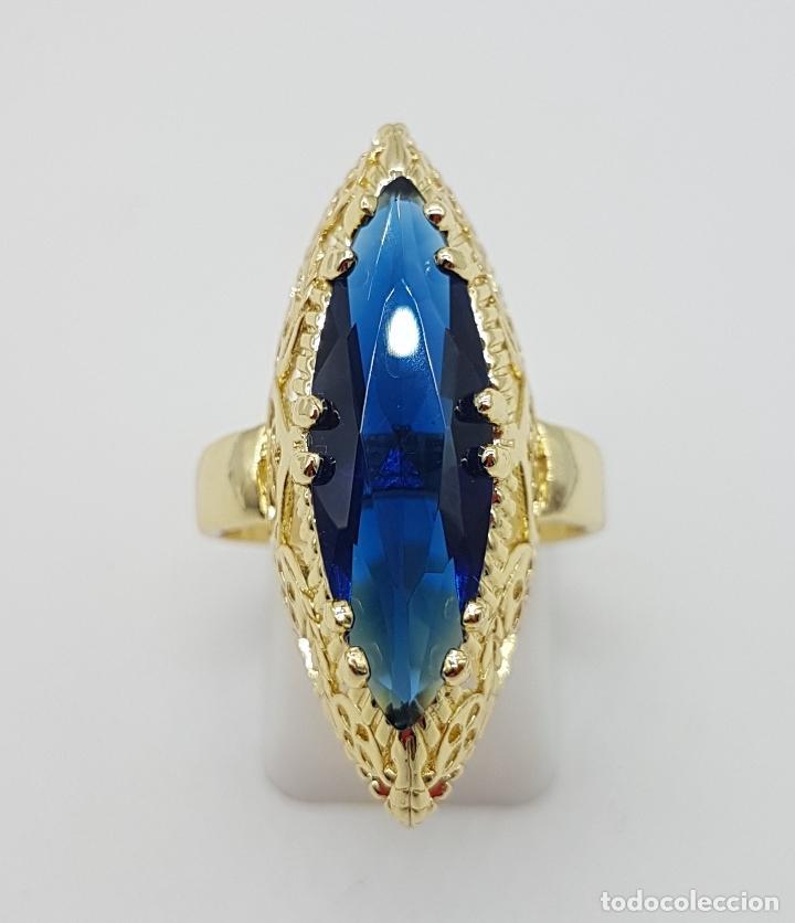 Joyeria: Precioso gran anillo tipo lanzadera chapado en oro amarillo de 18 quilates de bonito diseño. - Foto 2 - 126962931