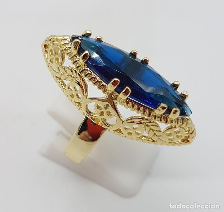 Joyeria: Precioso gran anillo tipo lanzadera chapado en oro amarillo de 18 quilates de bonito diseño. - Foto 3 - 126962931