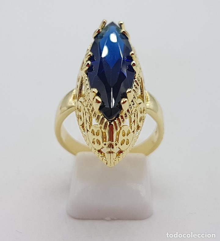 Joyeria: Precioso gran anillo tipo lanzadera chapado en oro amarillo de 18 quilates de bonito diseño. - Foto 4 - 126962931