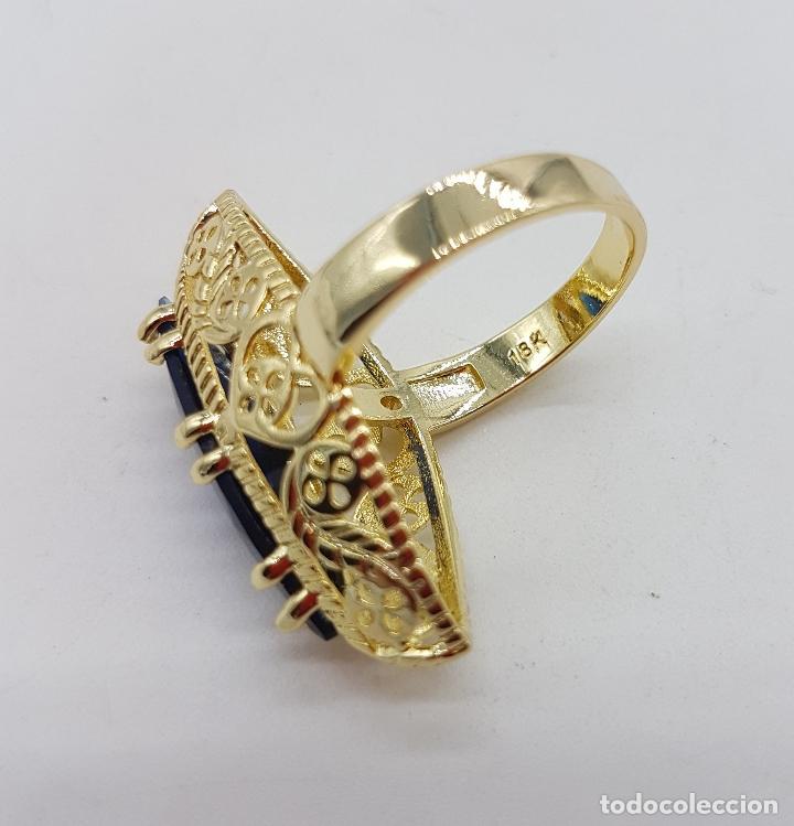 Joyeria: Precioso gran anillo tipo lanzadera chapado en oro amarillo de 18 quilates de bonito diseño. - Foto 5 - 126962931