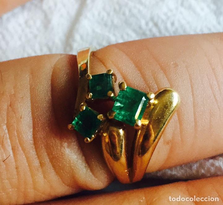 Joyeria: Precioso anillo oro de 18 klts y 3 esmeraldas naturales - Foto 2 - 127555094
