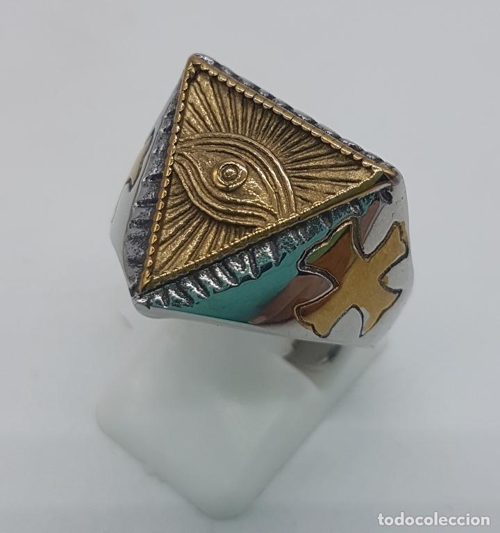 Joyeria: Precioso anillo en acero inoxidable de estilo masónico con ojo de la providencia. - Foto 2 - 127621463